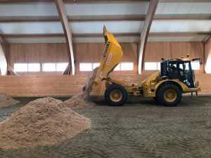 Tipping of new surface in Indoor Arena
